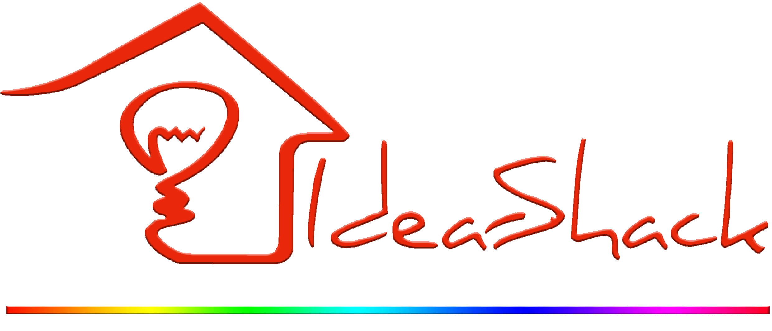 Idea-Shack Logo With Rainbow Line